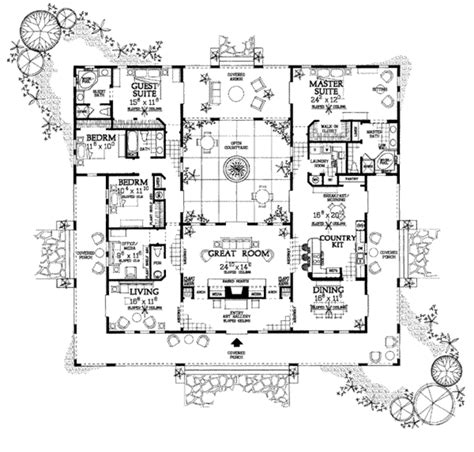 center courtyard house plans houseplans floor plan plan 72 177 i always wanted a atrium courtyard in the