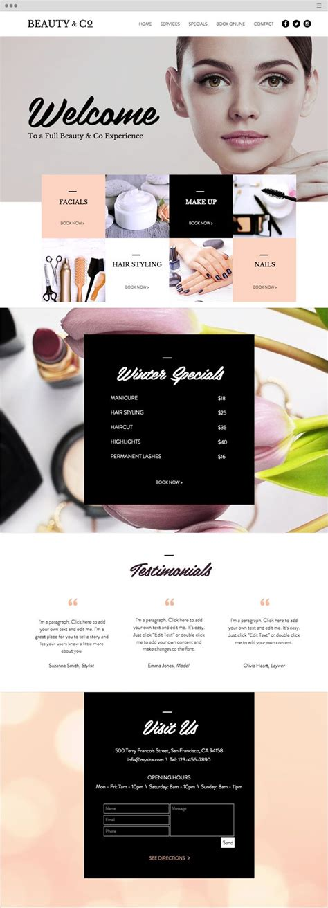Best 25 Salon Website Ideas On Pinterest Spa Website Beauty Salon Layout Ideas And Hair Websites Best Wix Templates