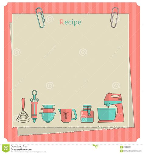 recipe note card template recipe card kitchen note template stock illustration