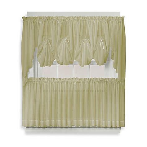 Sheer Tier Curtains Buy Emelia 24 Inch Sheer Window Curtain Tier Pair In Leaf From Bed Bath Beyond