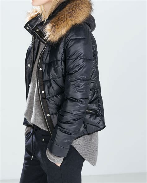 Outwear Zara Original shiny puffer jacket with fur zara wearables puffer jackets hoods and fur
