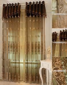 Brown Sheer Curtains Embroidered Sheer Curtains Are Great Choice For European Bedroom