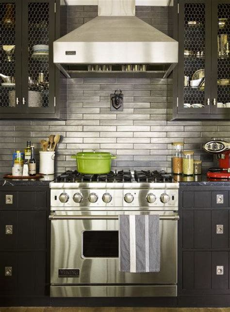 metallic subway tile backsplash kitchen space