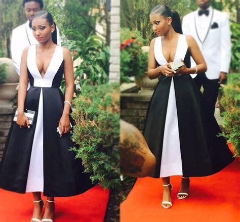 elegant black  white prom dresses  deep  neck