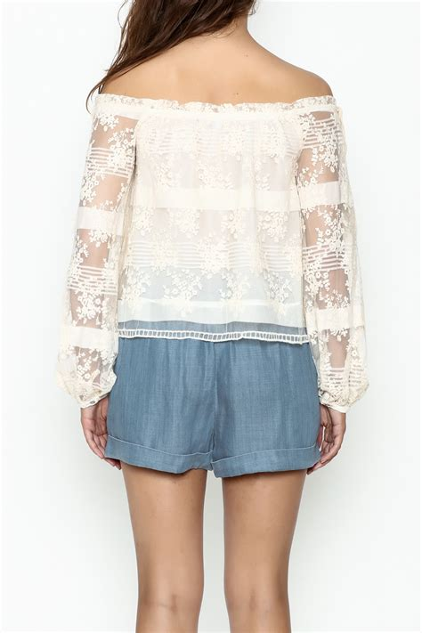 Becca Lace Fit To L ivory lace blouse clothing