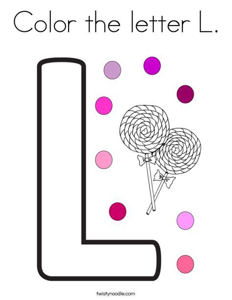 color the letter l coloring page twisty noodle