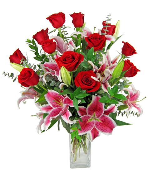 Unique Flower Vase Red Roses And Stargazer Lilies Zeidler S Flowers