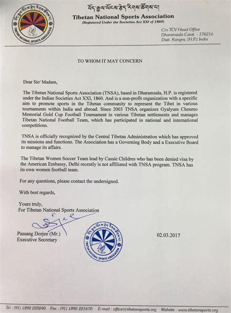 Embassy Letterhead Setback For Tibetan Women S Football Team As Us Denies Visa General Discussion Dorjeshugden