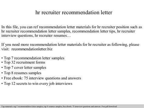 Resignation Letter For Hr Recruiter Hr Recruiter Recommendation Letter