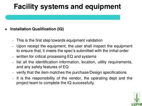 equipment installation qualification template process validation of api
