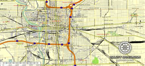indianapolis indiana usa map indianapolis city plan vector printable atlas 25 parts