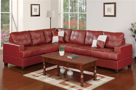 2 pc burgundy faux leather sectional set by poundex