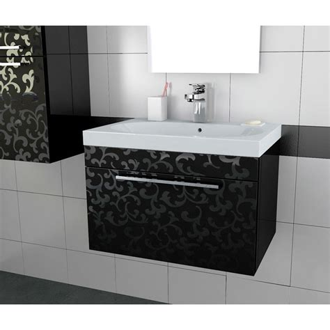 Black Vanity Units For Bathroom Twilight Flower Black 800 Vanity Unit With Basin Bathroom City