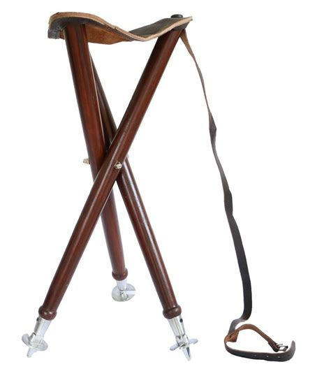 wooden folding chair stool leather seat camping fishing hunting tripod stool ebay