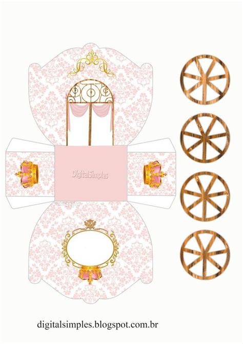 corona en dorado y rosa caja con forma de carruaje para