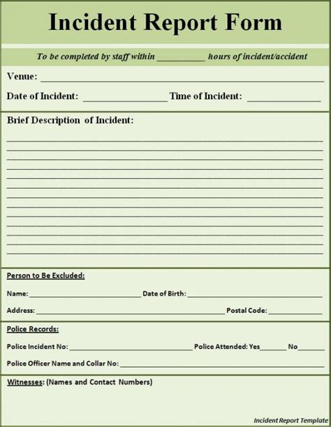 incident report format incident report sle template business