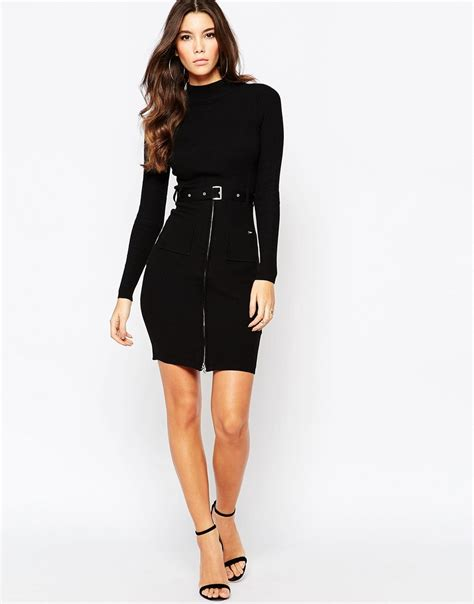 lipsy knitted dress lipsy keegan knitted dress with zip and