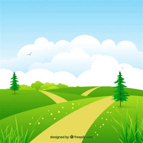 gambar background pemandangan taman bunga kartun desain