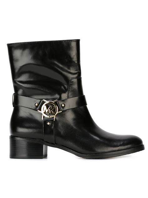 michael michael kors logo plaque boots in black lyst
