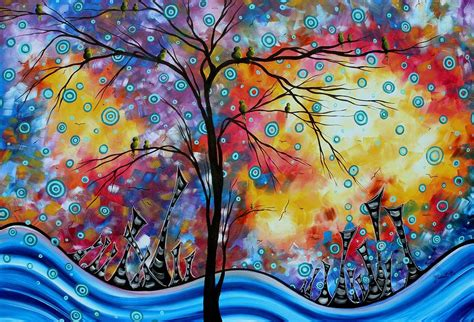 imagenes figurativas enormous whimsical cityscape tree bird painting original