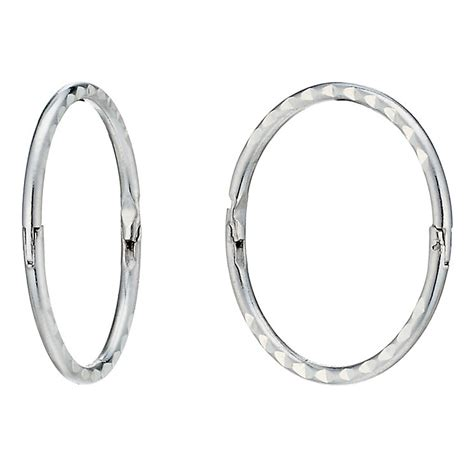 White Gold Sleeper Earrings by 9ct White Gold Cut 14mm Sleeper Earrings H Samuel The Jeweller