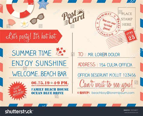 post card template event background vintage summer postcard background vector stock
