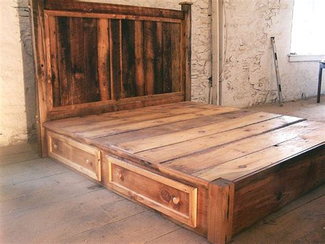 platform beds with drawers and headboard custom made reclaimed rustic pine platform bed with