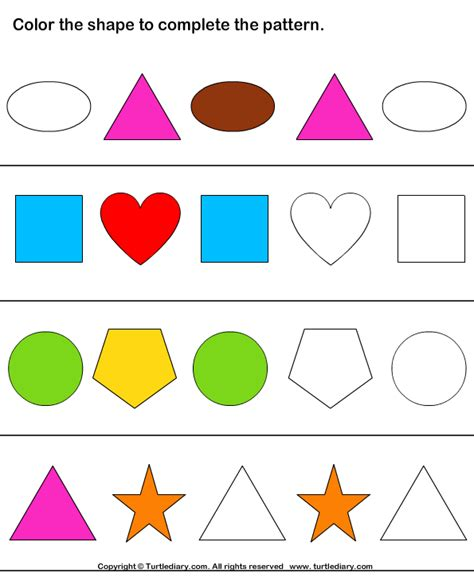 complete the pattern worksheet for kindergarten geometry worksheets complete the shape pattern 10