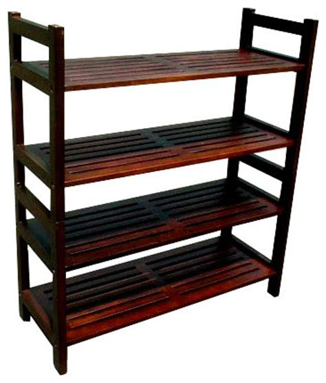 d collection inc veranda 4 tier shoe rack mahogany