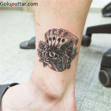 skull cards tattoo designs horrible skull and cards on ankle photos