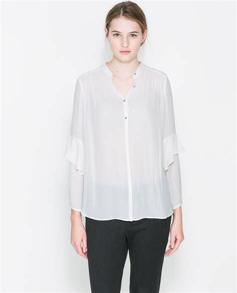 zara ruffle blouse zara blouse with ruffle sleeves in white ecru lyst