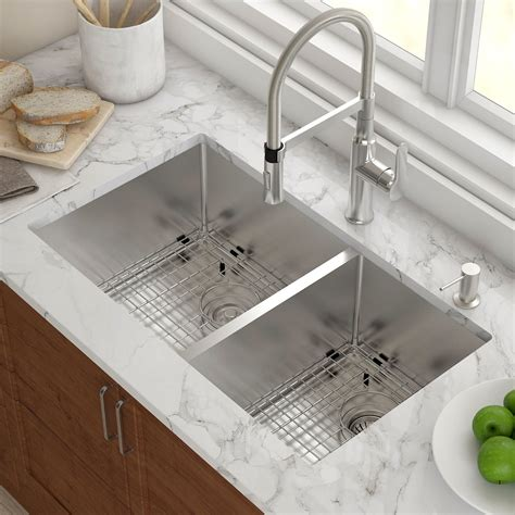 Undermount Sinks Kitchen Kraus Stainless Steel 32 75 Quot X 19 Quot Bowl Undermount Kitchen Sink With Noisedefend