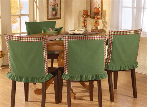 Dining Room Chair Back Covers Green Plaid Chair Back Covers For Fall Harvest