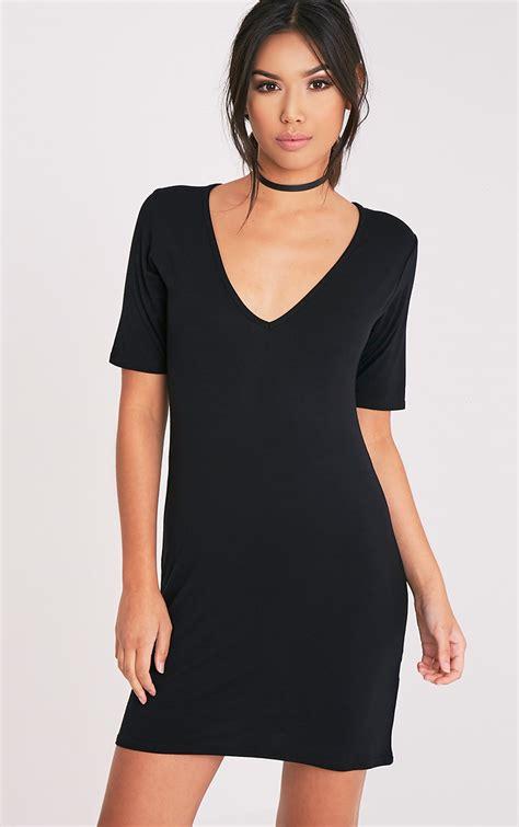 V Basic Dress t shirt dress oversized slogan dresses