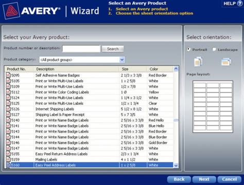 how to find a template in the avery wizard software for