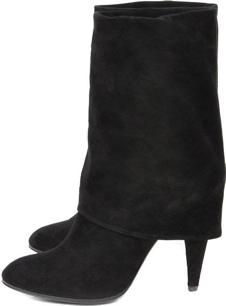 sigerson morrison suede fold boots in black lyst