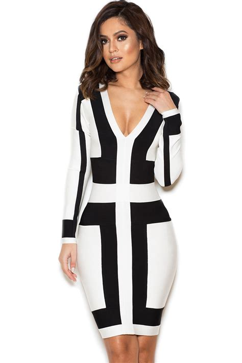White And Black Dress clothing bandage dresses michiyo black and white