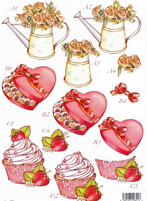 Decoupage Uk - hearts cup cakes die cut 3d decoupage sheet from