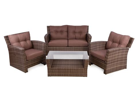 polyrattan sofa outside edge garden furniture rattan 4 seater sofa
