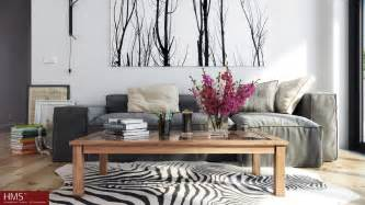 home interior deco hoang minh nordic style lounge with wintery print