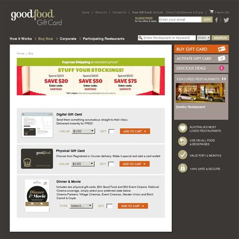 Good Food Gift Card - good food gift cards 15 off ozbargain