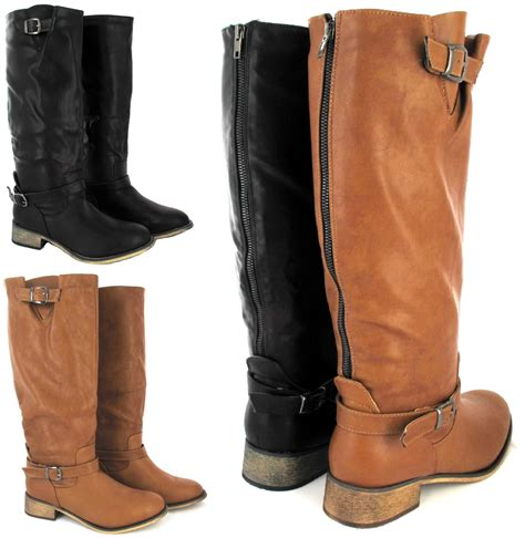 boots for big leg flat sole winter biker style wide calf leg
