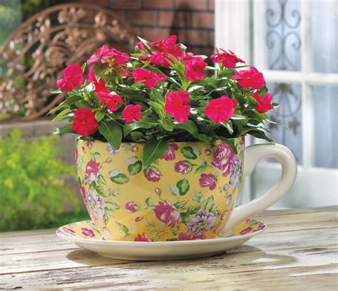 tea cup flower pot planter gardening supplies