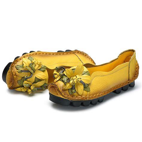 Genuine Leather Flower Flats socofy genuine leather handmade flower loafers soft flat
