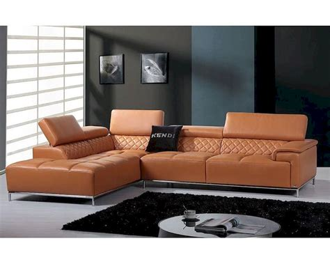 Orange Sectional Sofa Contemporary Orange Leather Sectional Sofa W Audio System 44l5974