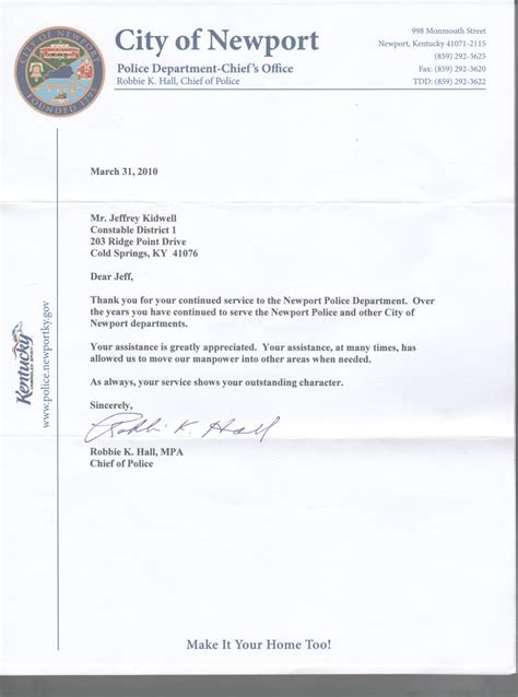 Enforcement Thank You Letter elect jeff kidwell cambpell county sheriff in 2012
