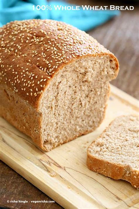 Handmade White Bread - 100 whole wheat bread recipe vegan richa