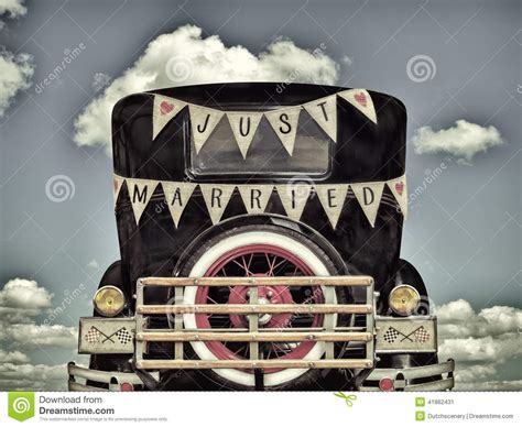 retro styled image    car   married