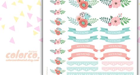 printable weekend stickers spring floral weekend banners printable planner stickers kit