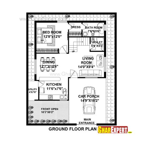car porch dimensions house plan for 36 feet by 45 feet plot plot size 180